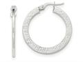 14k White Gold Polished/textured Large Post Hoop Earring