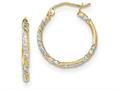 14k and Rhodium Satin Bright Cut Twisted Hoop Earrings