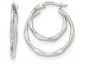14k White Gold Textured And Polished Fancy Hoop Earrings