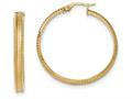 14k Polished and Satin Concave Ridged Edge Hoop Earrings