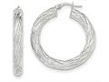 14k White Gold Textured Tube Hoop Earrings