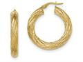 14k Textured Tube Hoop Earrings