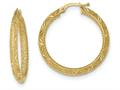 14k Textured Bright Cut Hoop Earrings
