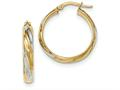 14k and Rhodium Polished 4.1mm Hoop Earrings