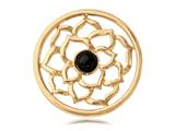 Nikki Lissoni Gold-tone 33mm Black Onyx Flower Coin style: C1011GM