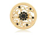 Nikki Lissoni Gold-tone 23.6mm Black Swarovski® Ancient Black Flower Coin style: C1155GS