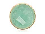 Nikki Lissoni Gold-tone 33 Mm Faceted Deep Aqua Quartzite Coin style: C1162GM