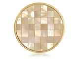 Nikki Lissoni Gold-tone 33mm Yellow Shell and Mop Mosaic Coin style: C1195GM