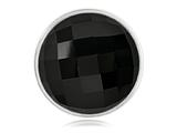 Nikki Lissoni Silver-tone 33mm Faceted Black Agate Coin style: C1198SM