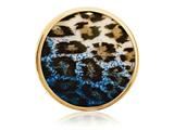 Nikki Lissoni Gold-tone 33mm Enamel Overlay Blue Leopard Print Coin style: C1220GM