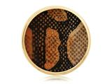 Nikki Lissoni Gold-tone 33mm Enamel Overlay Brown Snake Print Coin style: C1222GM