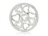 Nikki Lissoni Silver-tone 33mm Clear Swarovski® Sparkling Hearts Coin style: C1236SM