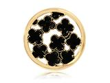 Nikki Lissoni Gold- Tone 33mm Enamel Black Flowers Coin style: C1246GM