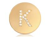 Nikki Lissoni Gold-tone 23.6mm Swarovski® Elements Initial K Coin style: C1262GSK
