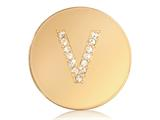 Nikki Lissoni Gold-tone 23.6mm Swarovski® Elements Initial V Coin style: C1262GSV