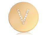 Nikki Lissoni Gold-tone 23.6mm Swarovski® Elements Initial V Coin style: C1262GSV