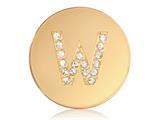 Nikki Lissoni Gold-tone 23.6mm Swarovski® Elements Initial W Coin style: C1262GSW