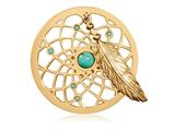 Nikki Lissoni Gold-tone 33mm Swarovski and Turquoise Dreamcatcher Coin style: C1402GM