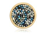 Nikki Lissoni Gold-tone 23.6mm Blue and White Rock Swarovski Crystal Coin style: C1422GS