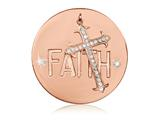 Nikki Lissoni Rose-tone 43mm Swarovski Have A Little Faith Dangle Coin style: C1480RGL