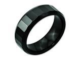 Chisel Ceramic Beveled Edge Black Faceted 8mm Polished Weeding Band style: CER10
