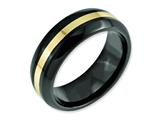 Chisel Ceramic Black With 14k Inlay 8mm Polished Weeding Band style: CER35