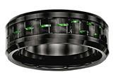 Chisel Ceramic Black With Green Carbon Fiber Beveled Edge Ring style: CER53