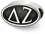 LogoArt Sterling Silver 12.25mm Delta Zeta Oval Letters Bead Charm style: DZ002BDSS