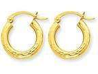 10k Diamond-cut 3mm Round Hoop Earrings Style number: 10TC267