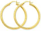 10k Diamond-cut 3mm Round Hoop Earrings Style number: 10TC269