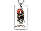 Ed Hardy Eagle and Skull Dog Tag Painted Necklace Style number: EHF103