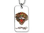 Ed Hardy Roaring Tiger Dog Tag Painted Necklace Style number: EHF104