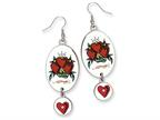 Ed Hardy Oval Dangling Heart Painted Earrings Style number: EHF106