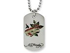 Stainless Steel Ed Hardy Love Eternal Dog Tag Painted Necklace Style number: EHF119