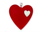 Sterling Silver Red Resin Heart Pendant - Chain Included Style number: QC6530