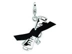 Amore LaVita Sterling Silver 3-D CZ Ribboned Diploma w/Lobster Clasp Charm (Fabric ribbon) for Charm Bracelet Style number: QCC109