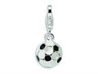 Amore LaVita Sterling Silver Enamel Miniature Soccer Ball w/ Fancy Lobster w/Lobster Cla for Charm Bracelet Style number: QCC299