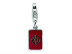 Amore LaVita Sterling Silver CZ and Enameled Diamond Card w/Lobster Clasp Bracelet Charm Style number: QCC321