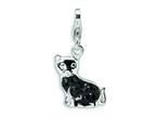 Amore LaVita Sterling Silver Cat w/ Fancy w/Lobster Clasp Charm for Charm Bracelet Style number: QCC388