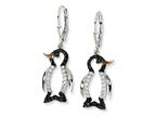 Cheryl M Sterling Silver Enameled Black and White CZ Penguin Leverback Earrings Style number: QCM597