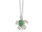 Cheryl M Sterling Silver Simulated Peridot/Simulated Emerald/CZ Turtle 18in Necklace Style number: QCM604