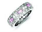 Sterling Silver Pink and Clear Cubic Zirconia Band Style number: QR1996