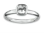 Stackable Expressions Sterling Silver Cushion Cut White Topaz Stackable Ring Style number: QSK449