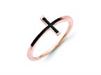 14k Rose Gold Antiqued Sideways Cross Ring Style number: R1786