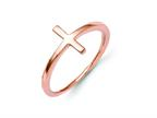 14k Rose Gold Sideways Cross Ring Style number: R1789