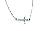 14k White Gold Sideways Cut-out Cross Necklace Style number: SF2095