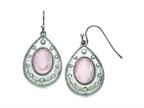 Chisel Stainless Steel Polished Rose Quartz And CZ Shepherd Hook Earrings Style number: SRE750