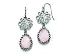Chisel Stainless Steel Polished Rose Quartz Shepherd Hook Earrings Style number: SRE753