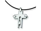 Chisel Stainless Steel Leather Cord Cross Necklace - 18 inches Style number: SRN100