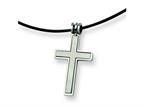 Chisel Stainless Steel Leather Cord Cross Necklace - 18 inches Style number: SRN102